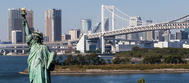 The Rainbow Bridge was designed to allow ships to safely