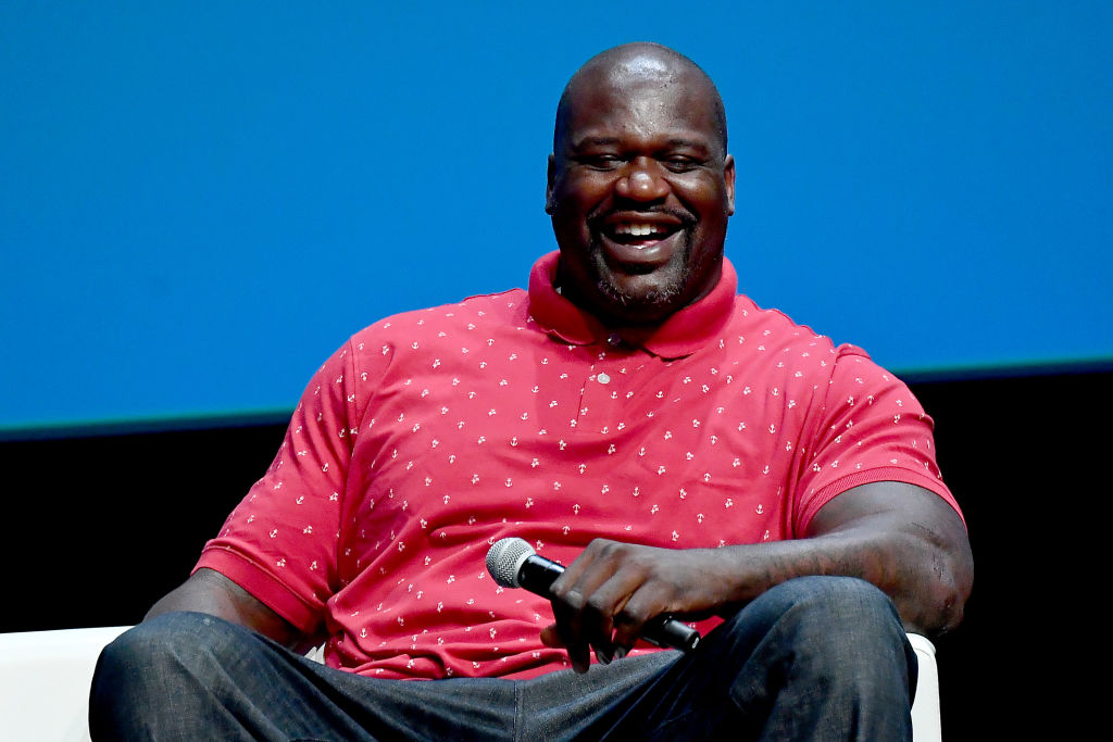 Shaq Talking At A Conference laughing