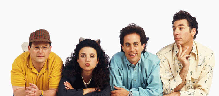 publicity shot featuring george,elaine, jerry, and kramer