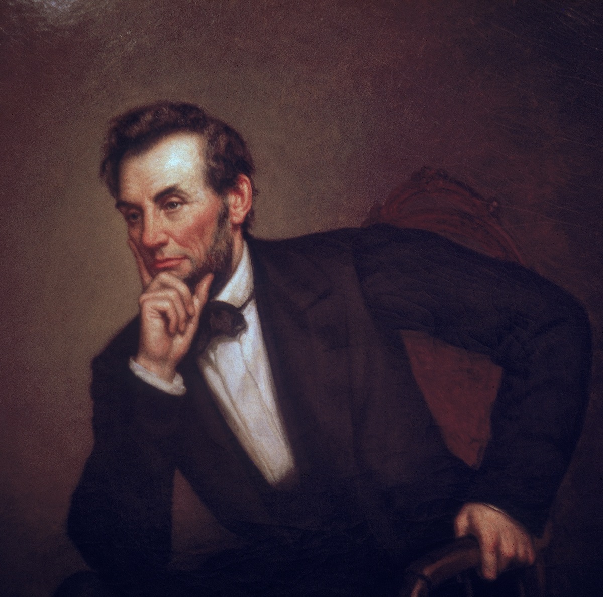 Portrait of American President Abraham Lincoln painted by George P. Healy, mid-1860s.