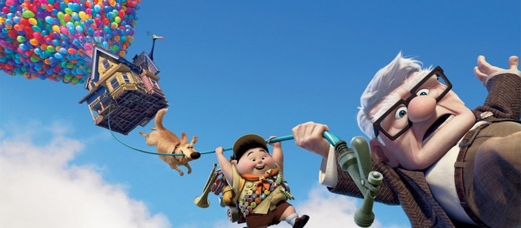 carl, russell, dug, and the house with balloons in the sky