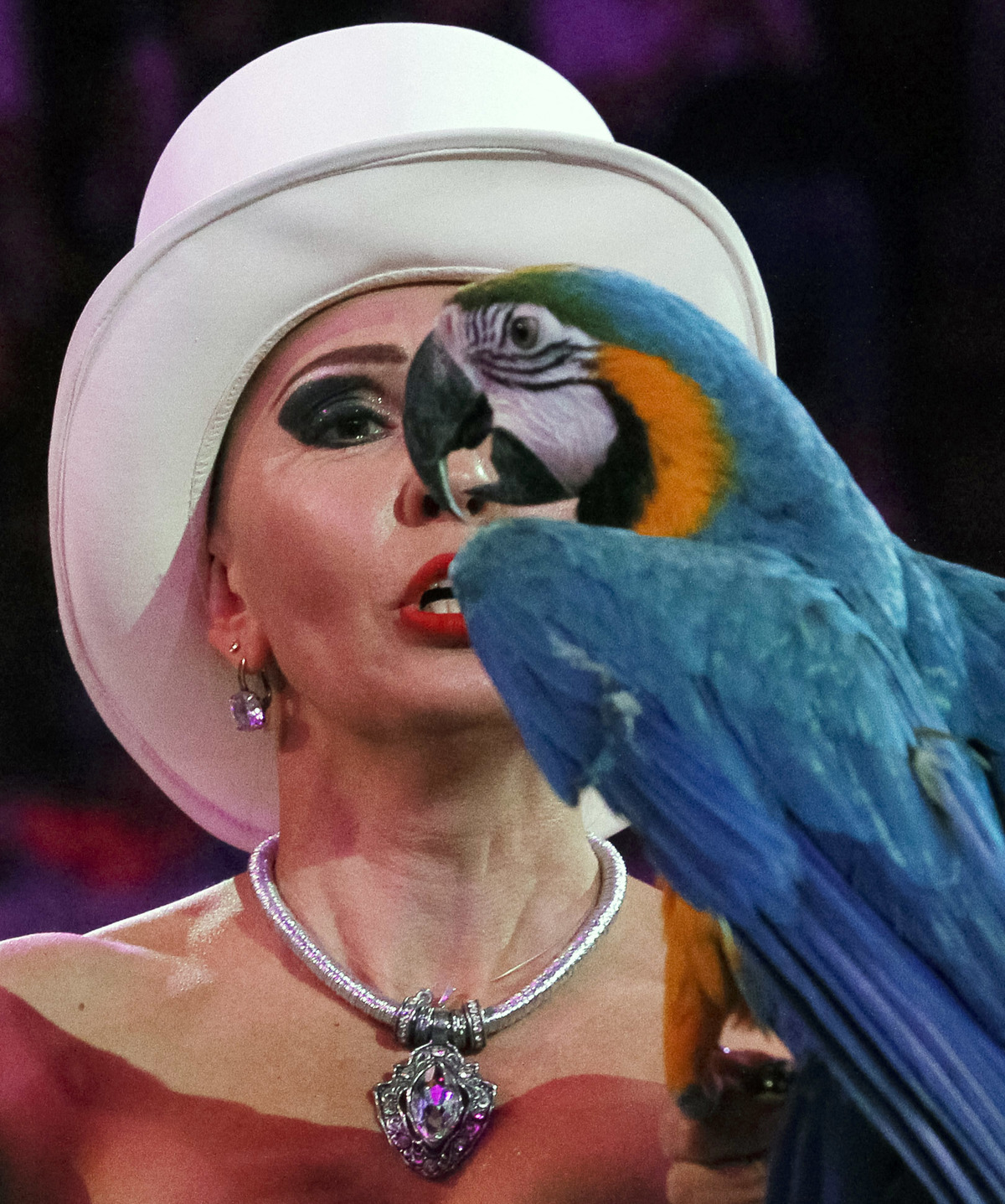 An Ukrainian artist performs with a parrot during presentation of a new circus show