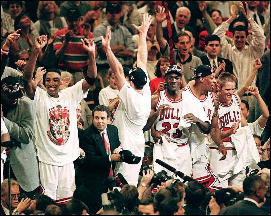 The Chicago Bulls celebrate
