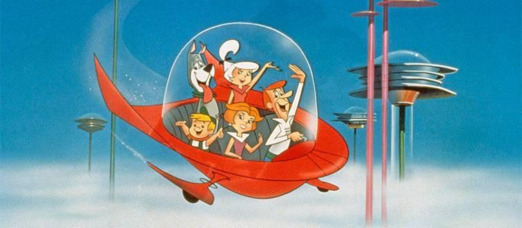 the jetsons in a red aerocar