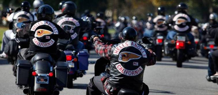 hells angels riding motorcycles