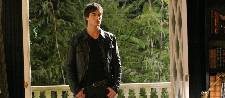 actor from the vampire diaries near some trees