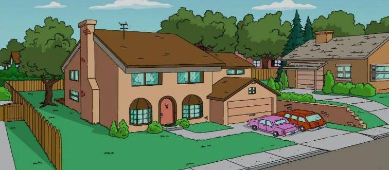 a cartoon house with cars